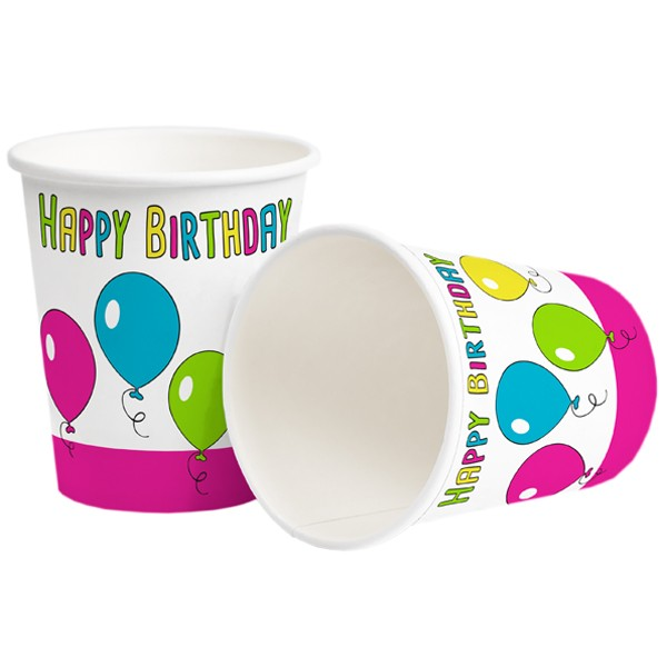 Pappbecher 250ml Happy Birthday