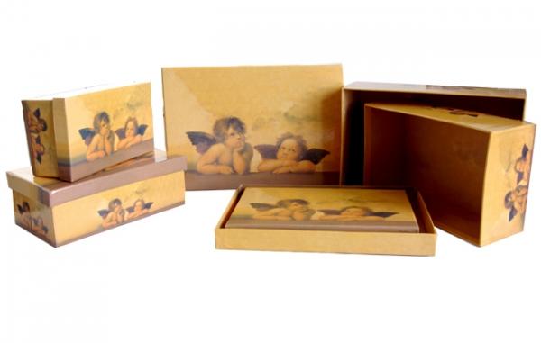 """5 Geschenkboxen rechteckig mit Motiv """"Engel beige"""""""