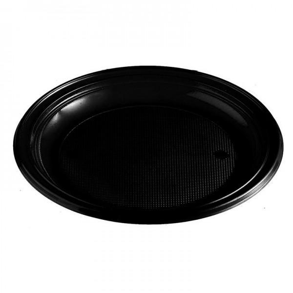 Menüteller Plastik schwarz rund ungeteilt pp 220 mm