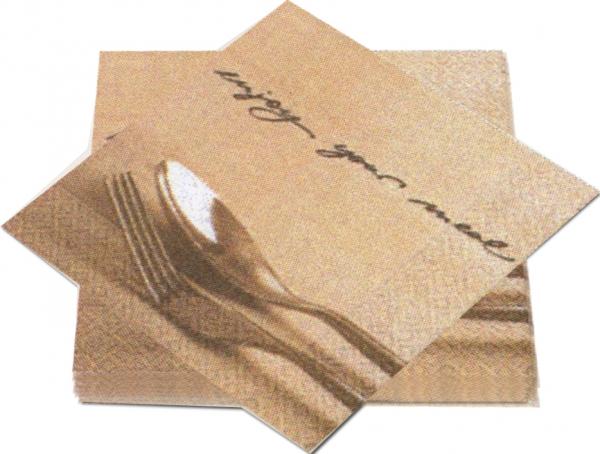 """Premium Servietten papier mit Motiv """"Enjoy your Meal"""" 330mm 3-lagig 1/4 Falz"""