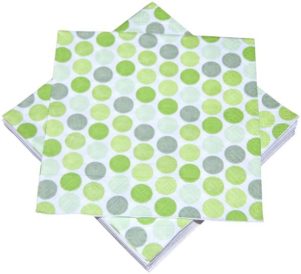 """Premium Servietten papier mit Motiv """"Punkte grün"""" 330mm 3-lagig 1/4 Falz"""