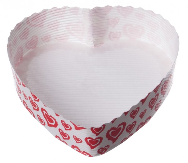 Einweg-Backform Herz weiß-rot 130x35mm papier