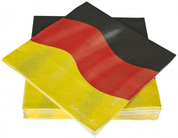 """Premium Servietten papier mit Motiv """"Deutschland"""" 330mm 3-lagig 1/4 Falz"""