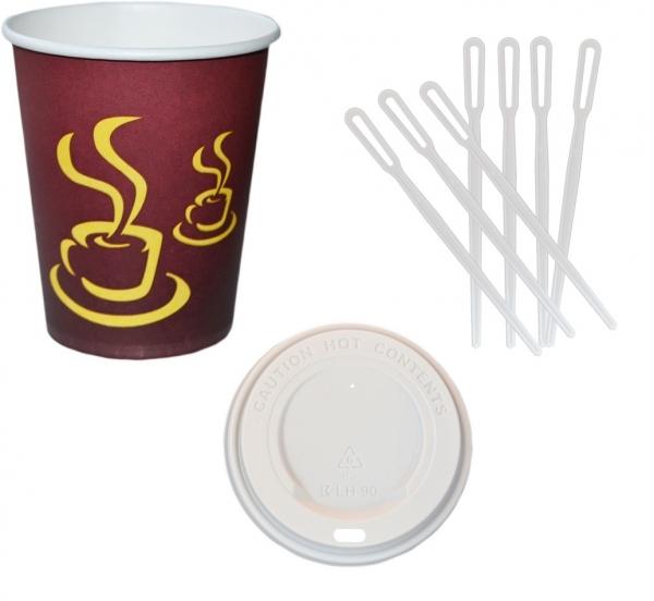 Sparset Coffee To Go Becher 200ml + Coffee To Go Becher Deckel weiß 200ml + Rührstäbchen pl