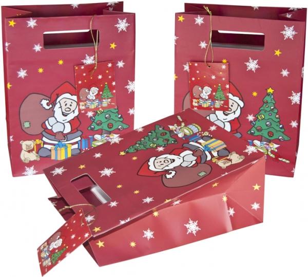 """Geschenktasche 230x180x100mm mit Griffstanzung und Motiv """"Weihnachtsmann"""""""
