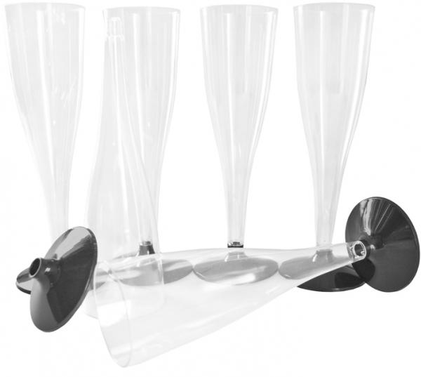 Trinkbecher Sektgläser ps 100ml glasklar mit schwarzem Fuß