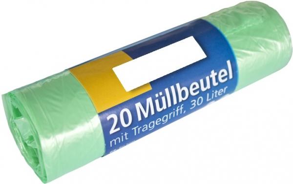 Müllbeutel mit Tragegriff, 30l, Rolle, grün, HDPE