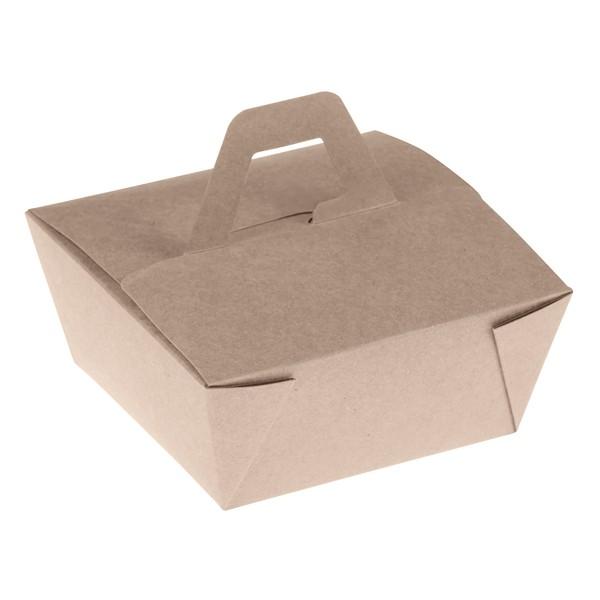 Takeaway Box mit Henkel PLA 150x150x65mm aus Bambus, naturesse