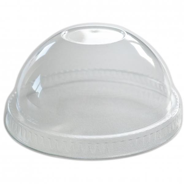 Smoothie Cups Domdeckel mit Loch pet transparent