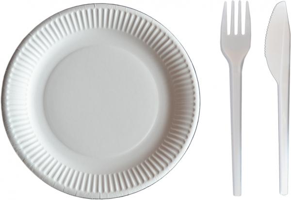 Sparset Pappteller rund weiß 280mm + Plastik Gabeln pl weiß 18cm + Plastik Messer pl weiß 18cm