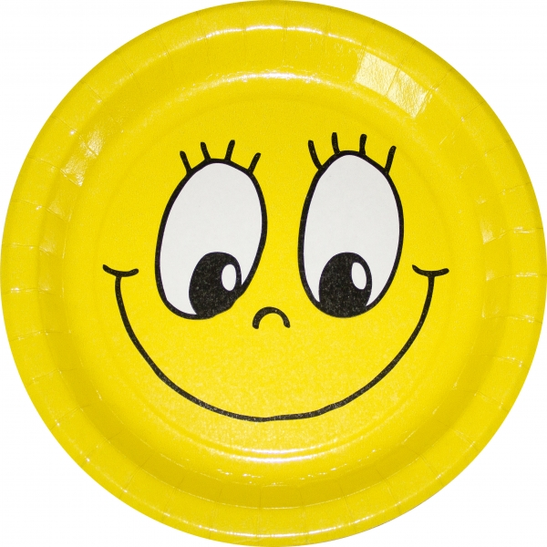 """B1 Pappteller rund flach ppk Motiv """"Smile"""" 230mm"""