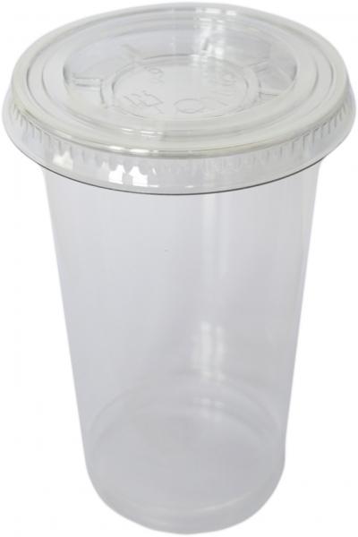 Sparset Smoothie Cups pet transparent 225ml + Smoothie Cups Flachdeckel mit Kreuz pet transparent