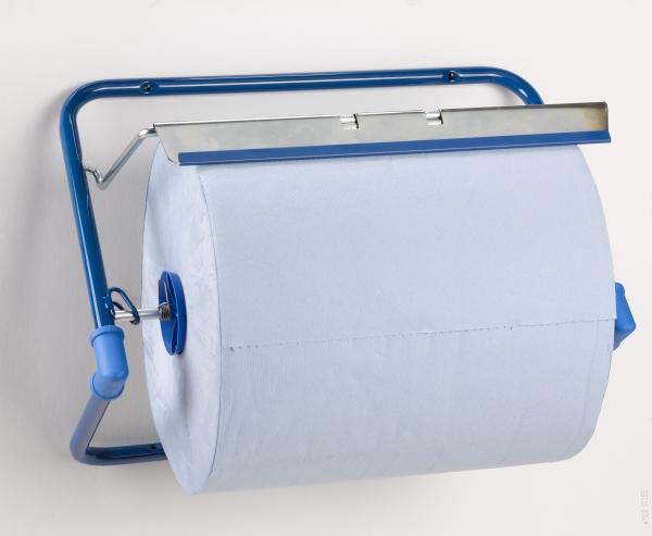 Spender für Putztuch /Industriepapierrollen und Handtuchrollen Wandhalter, bis 40cm, blau - 1
