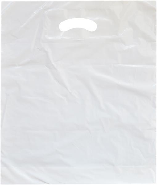 Shoppertasche mit Griffloch MDPE weiß 450x550x50mm extrastark - 500 Stück