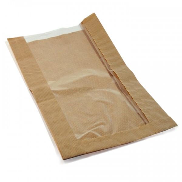 Faltenbeutel Papier braun 150x60x290mm mit Sichtfenster 100mm