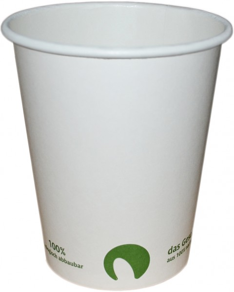 B2 Bio Coffee To Go Becher ppk 400ml Coffee Cup weiß, Kaffeebecher kompostierbar