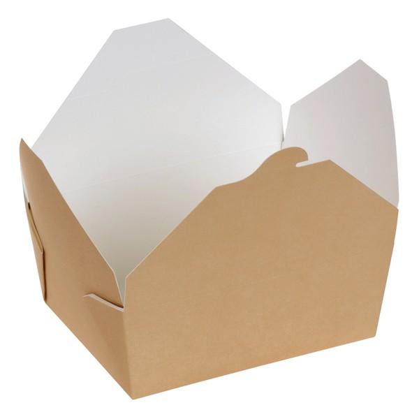 Take away Box mit PLA-Beschichtung braun/weiß 160x90x60mm 1000ml, naturesse