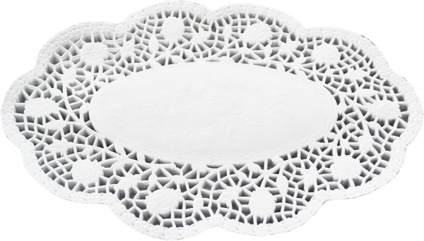 100 Tortenspitzen oval weiß 240x310mm