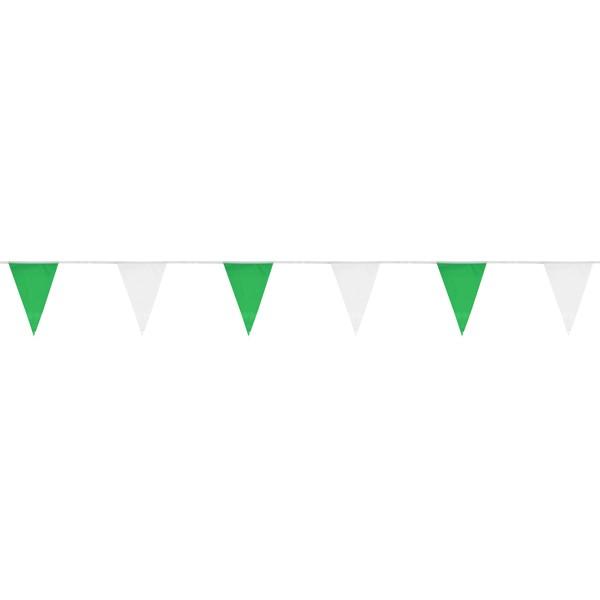 Wimpelkette grün / weiß 30cm x 10m