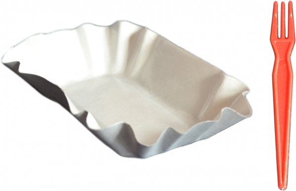 Sparset Pappschalen eckig 90x140x30mm ppk weiß + Pommes Frites Gabeln pl bunt 85mm groß