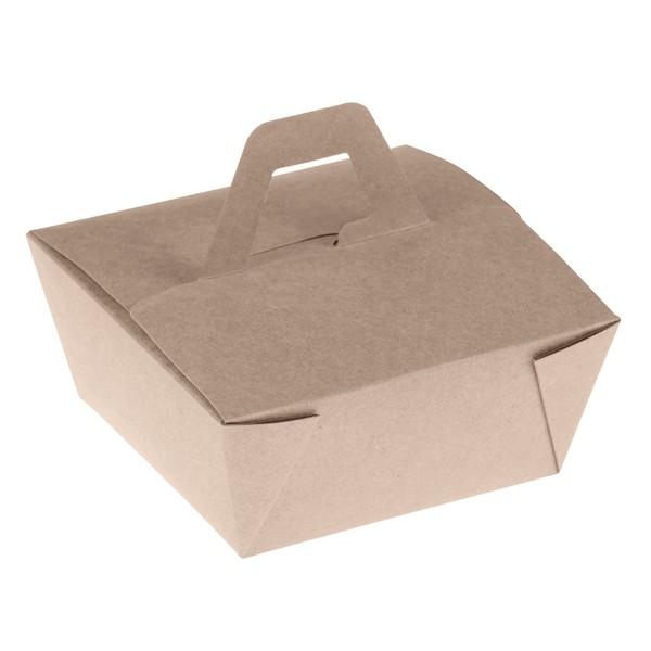 Takeaway Box mit Henkel PLA 110x110x65mm aus Bambus, naturesse