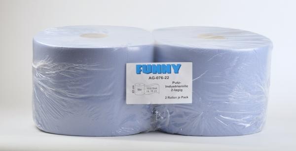 Industriepapierrollen 2-lagig, 22x38cm, 1000 Blatt, blau (Zellstoff) - 2 Rollen