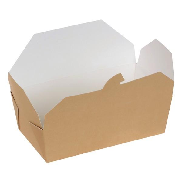 Take away Box mit PLA-Beschichtung braun/weiß 152x120x65mm 1500ml, naturesse