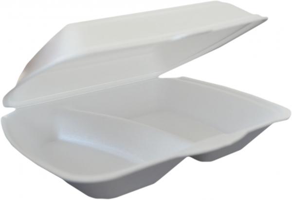 Warmhalteverpackungen ungeteilt 240x210x69mm styro weiß mit Deckel , mikrowellengeeignet