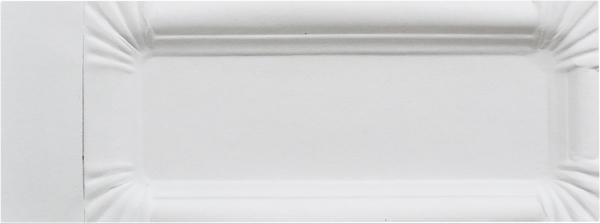 C4 Pappteller eckig 90x150mm ppk weiß mit Abriß Bratwurstteller