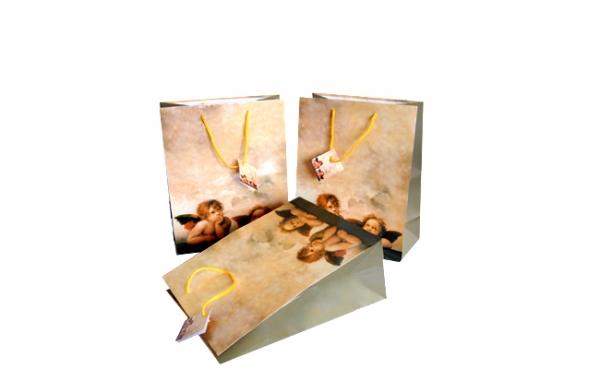 """Geschenktasche 230x170x90mm mit Griffstanzung und Motiv """"Engel beige"""""""