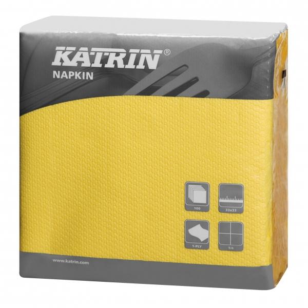 Gelb Katrin Servietten papier 330mm 1-lagig 1/4 Falz