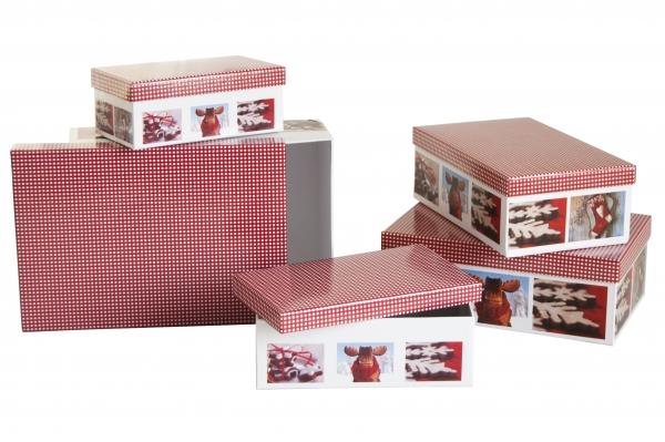 """5 Geschenkboxen rechteckig mit Motiv """"X-Mas Cottage"""""""