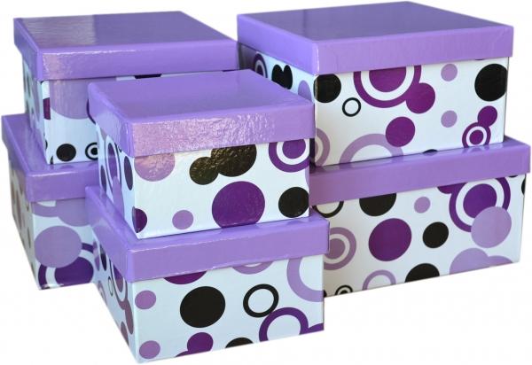 """6 Geschenkboxen quadratisch im Set """"Lila mit Kreisen"""""""