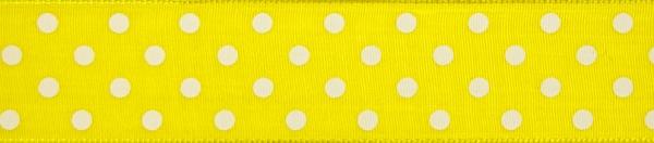 """Geschenkband 2mx40mm mit Motiv """"Premium gelb/maigrün - Punkte gelb/weiß"""""""