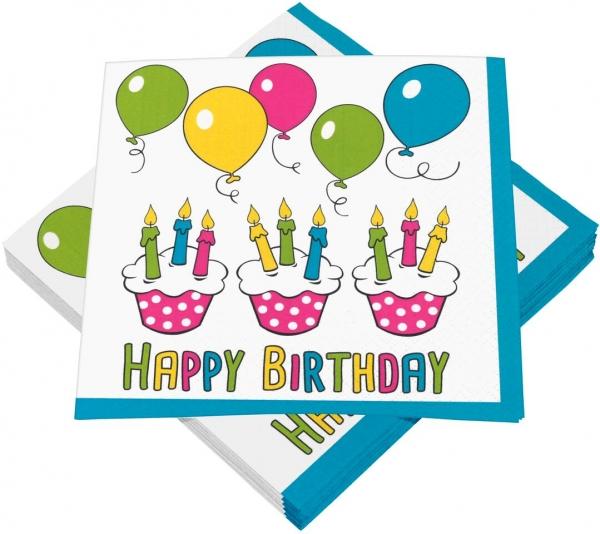 """Premium Servietten papier mit Motiv """" Birthday Party 2"""" 330mm 3-lagig 1/4 Falz - 243-13"""