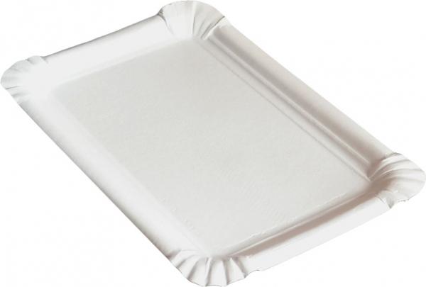 KU0 Pappteller eckig ppk weiß 110x170mm kunststoff beschichtet