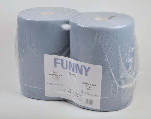 Industriepapierrollen 3-lagig, 36x38cm, 500 Blatt, blau, ov. - 2 Rollen AG-079