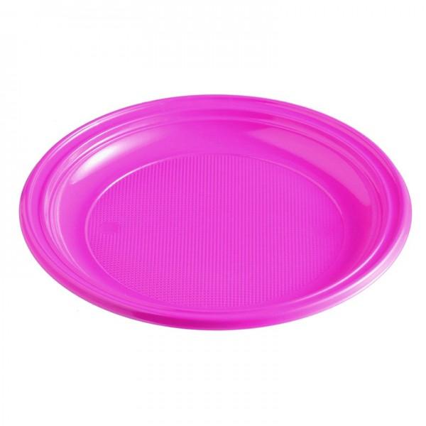 Menüteller Plastik pink rund ungeteilt pp 220 mm