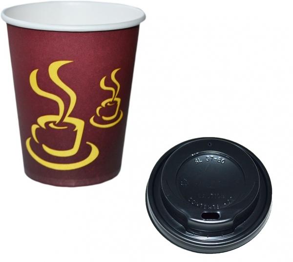 Sparset Coffee To Go Becher 200ml + Coffee To Go Becher Deckel schwarz 200ml