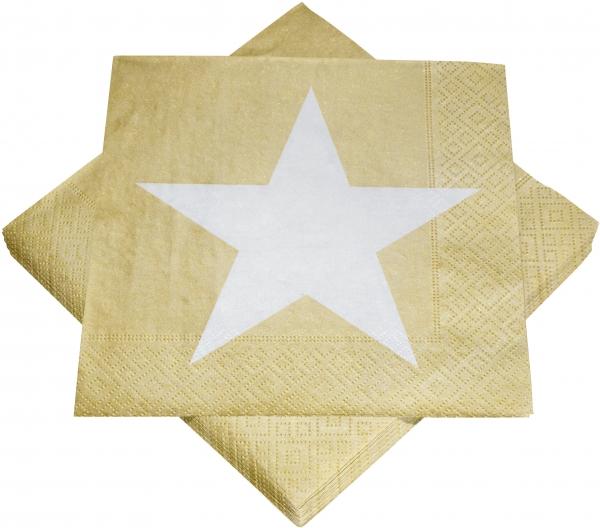 """Premium Servietten papier mit Motiv """"Stern gold/weiß"""" 330mm 3-lagig 1/4 Falz_243-45"""