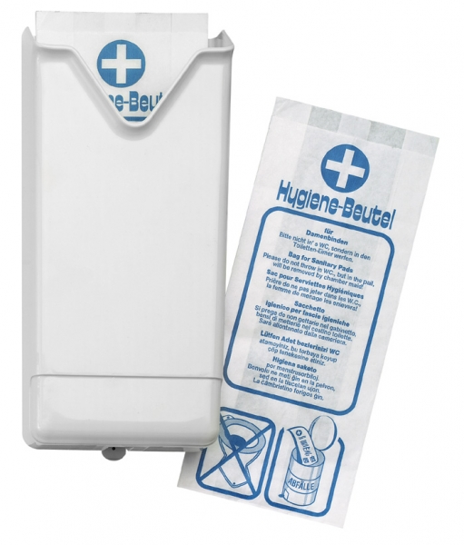 Spender für Hygienebeutel 130x290x55mm, Papier-Beutel, weiß (für 942) - 1