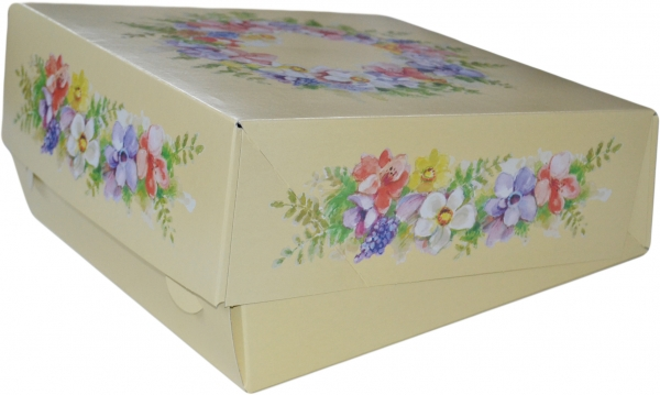 "Tortenkarton pp ""Blütenzauber"" 1-teilig 340x340x110mm"