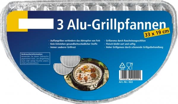 Grillschale Alu halbrund 330x190mm