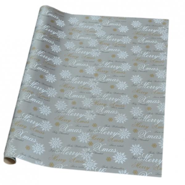"""Geschenkpapier-Rolle 2m x 700mm auf Kern """"Premium Merry X-Mas-silber"""" 22-308-08"""
