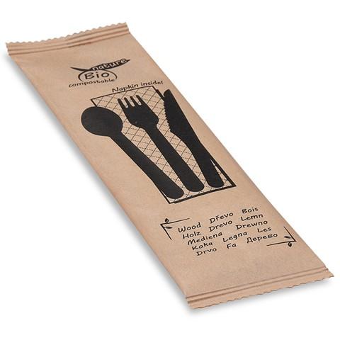 Holzbesteck-Set aus Messer + Gabel + Löffel + Serviette