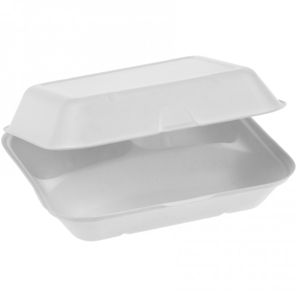 Zuckerrohr Food Box 3-teilig 23,5x19,5cm 7,5cm tief, extra gross mit Klappdeckel, naturesse