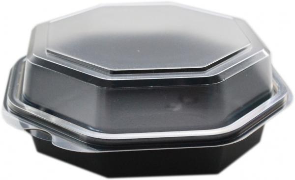 Fantasybox / Salatbox 8eck 1300ml ps transparent/schwarz mit Deckel