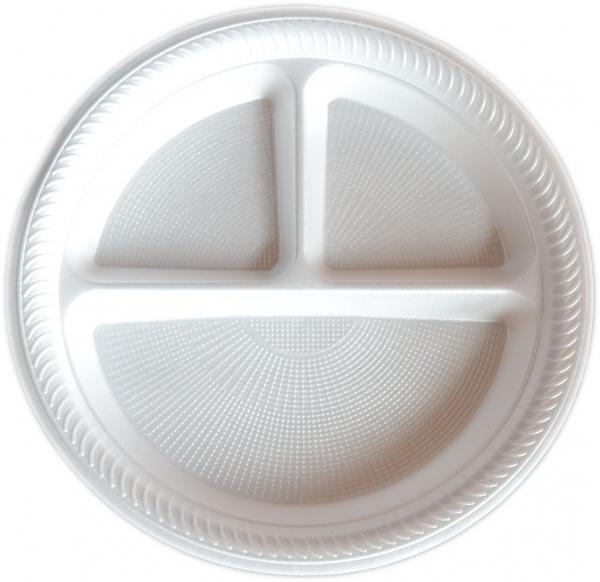 Menüteller rund dreigeteilt styropor weiß 225 mm