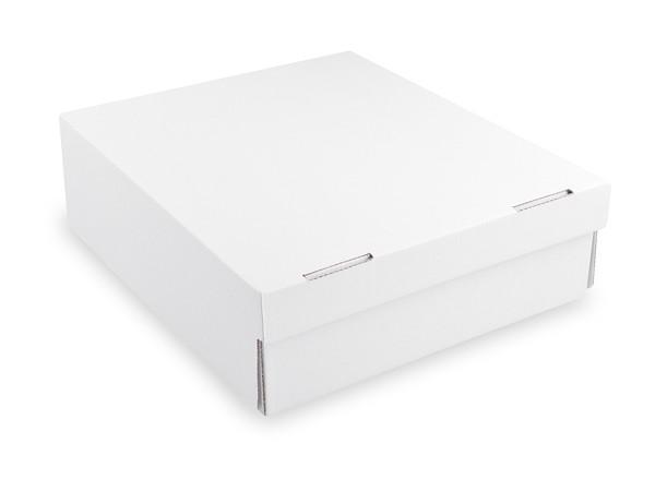 Tortenkarton aus Mikrowellpappe 1-teilig weiß, 280x280x100mm