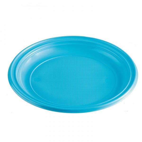 Menüteller Plastik hellblau rund ungeteilt 220 mm